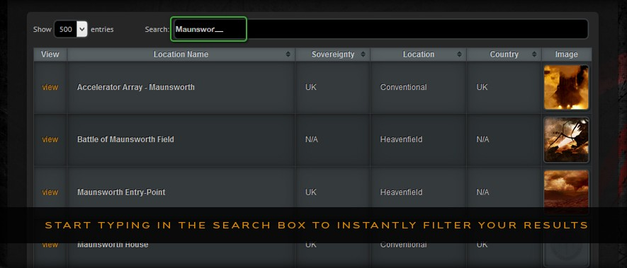 The Heavenfield Datavault - Start typing in the search box to instantly filter your results